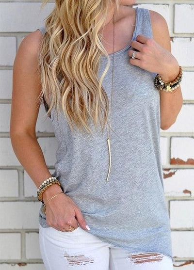 Outlet Appeal Light Gray / L Sleeveless Backless Shirt Knotted Tank Top