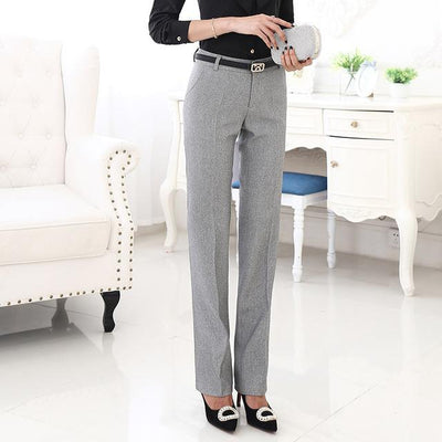Outlet Appeal Light gray pants / XXL Belt Loop Formal Pants for Women Office Lady Style Straight Trousers Business Design S-5XL