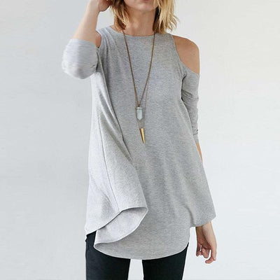 Outlet Appeal Light Gray / S Spring Autumn Half Sleeve Tees T-Shirts Cold Shoulder Tops Women Loose Solid T-Shirts