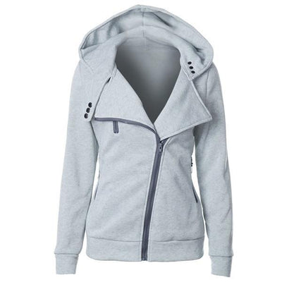 Outlet Appeal light gray / XXL Women's Slim Fit Long Sleeve Cotton Zipper Jacket Hoodie