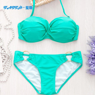 Outlet Appeal Light Green / L Two Piece Elastic Bikini Swimsuit Sexy Padded Swimwear Swim Suit for Women