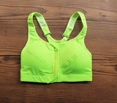 Outlet Appeal light green / S Professional Level Shockproof 4-Way Stretch Sports Bra with Zipper and Adjustable Straps