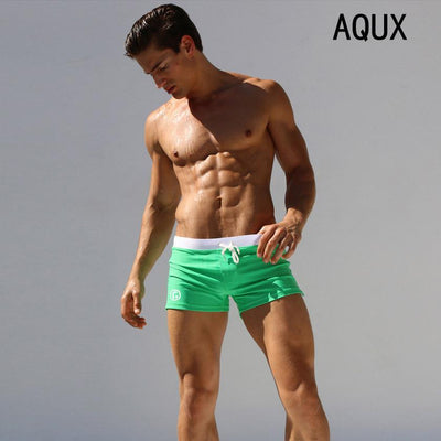 Outlet Appeal Light Green / XXL Men's Square Leg Swimsuit Men Short Swimming Trunks Pants Beachwear with a Pocket