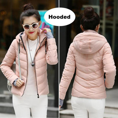 Outlet Appeal Light pink / M Winter Jacket Women's Plus Size Womens Parkas Thicken Outerwear solid hooded Coats Short Female Slim Cotton padded basic tops