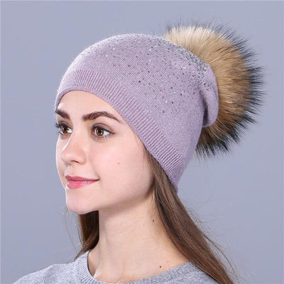 Outlet Appeal ligth purple [Xthree] women winter beanie hat Rabbit fur wool knitted hat the female of the mink pom pom Shining Rhinestone hats for women