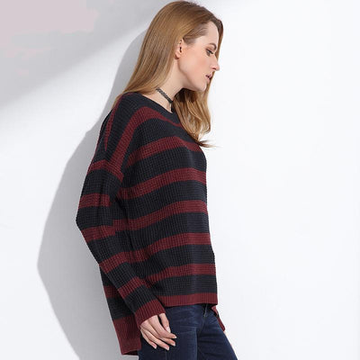 Outlet Appeal Long Knitted Sweater Pullover Women Plus Sizes Oversized Striped Sweater Shirt Knit Pullover