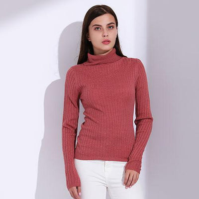 Outlet Appeal MelonRed / L Turtleneck Pullover Women Knitted Sweaters Thin Pullover Long Sleeve Knitwear GAREMAY