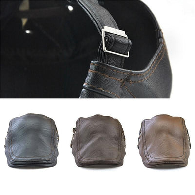 Outlet Appeal Men's Flat Cap Vintage PU Leather Newsboy Cap Flat Golf Driving Hunting Hat