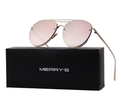 Outlet Appeal MERRY'S Women Classic Designer Rimless Sunglasses Twin Beam Metal Frame Sun Glasses S'8096