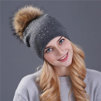 Outlet Appeal mink gray [Xthree] women winter beanie hat Rabbit fur wool knitted hat the female of the mink pom pom Shining Rhinestone hats for women