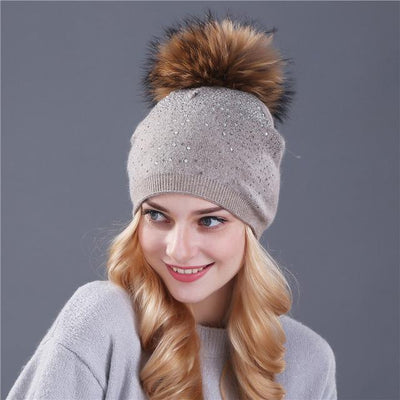 Outlet Appeal mink kakhi [Xthree] women winter beanie hat Rabbit fur wool knitted hat the female of the mink pom pom Shining Rhinestone hats for women