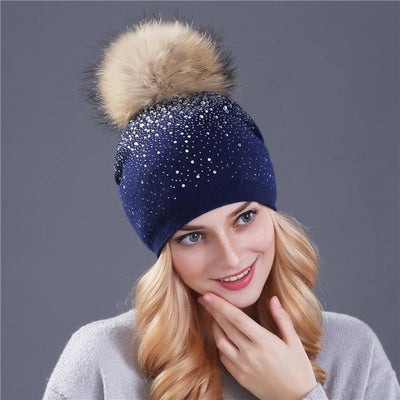 Outlet Appeal mink navy [Xthree] women winter beanie hat Rabbit fur wool knitted hat the female of the mink pom pom Shining Rhinestone hats for women