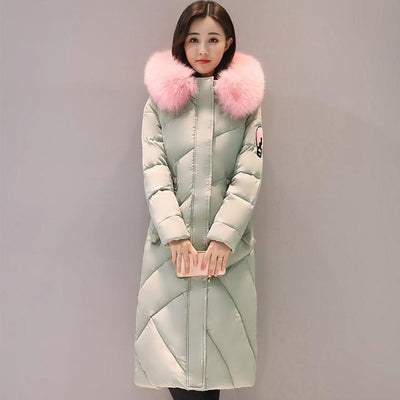 Outlet Appeal MINT GREEN / M Fur Collar Long Winter Coat
