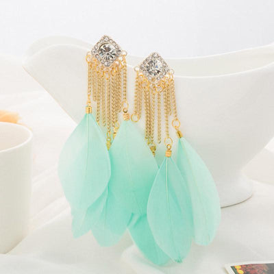 Outlet Appeal Mint Green / one-size Bohemian Handmade Vintage Feather Rhinestone Long Drop Earrings Dangle BU