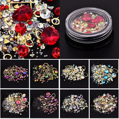 Outlet Appeal Mixed Colorful Acrylic Rhinestones in Alloy Metal Frame DIY Nail Decor Manicure 3D Nail Art