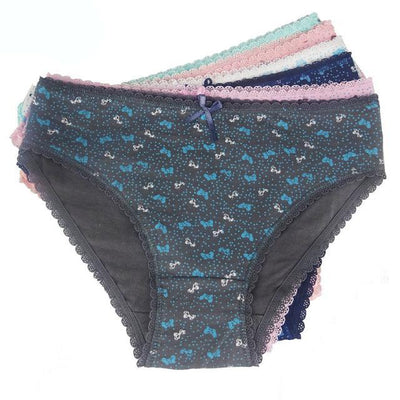 Outlet Appeal Multi / M 6 Pairs/Pack 6 Colors Women's Floral Printed Cotton Briefs Panties