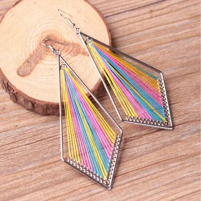 Outlet Appeal Multicolor / one-size Bohemian Style Wind Handmade Earrings Individuality   Geometric Earrings A