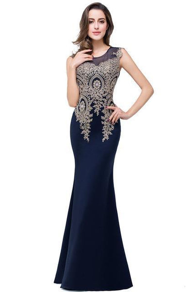 Outlet Appeal navy blue / 2 Lace Mermaid Prom Dresses Long Embroidery Evening Party Dress