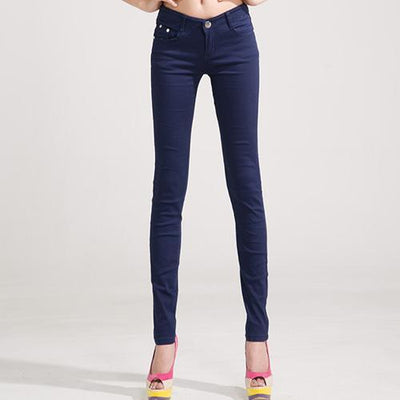 Outlet Appeal Navy blue / 25 Denim Pants Candy Color Womens Jeans Stretch Bottoms Skinny Pants For Women Trousers