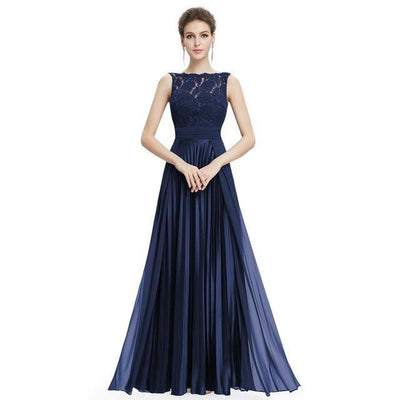 Outlet Appeal Navy Blue / 4 / China Evening Dresses Gorgeous Formal Round Neck Lace Long Sexy Red Women Party