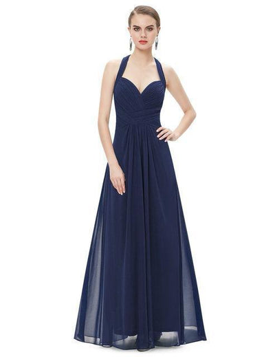 Outlet Appeal Navy Blue / 4 / China Prom Dress A Line Ever Pretty Empire Halter Long Maxi Sleeveless Long Prom Dresses