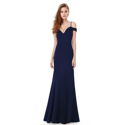 Outlet Appeal Navy Blue / 6 / China Prom Dresses V-neck Women's Elegant Off-the-shoulder Sleeveless Long Party Dresses Ever Pretty