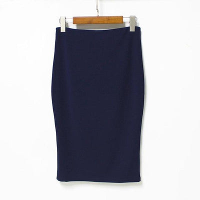 Outlet Appeal navy blue / L 5 Colors Slim Open Slit Chiffon Knee-Length Midi Pencil Skirt