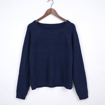 Outlet Appeal navy blue / L Autumn winter women sweaters and pullovers korean style long sleeve casual crop sweater slim solid knitted jumpers sweter mujer