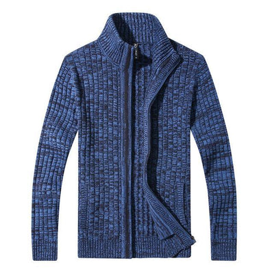 Outlet Appeal Navy Blue / M / China Men's Slim Fit Zipper Cardigan Sweater
