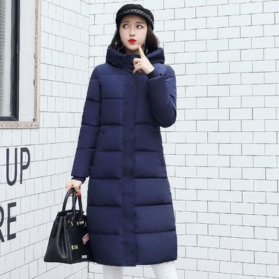 Outlet Appeal NAVY BLUE / M High quality 2018 stand collar coat women winter long hooded with a hat warm thicken womens jacket solid padded female parka
