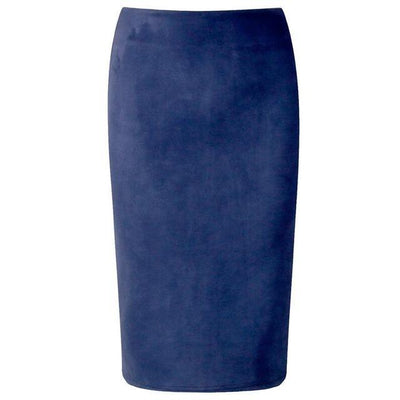 Outlet Appeal Navy Blue / M Women Suede Midi Pencil Skirts Causal High Waist Sexy Stretch Ladies Office Work Wear