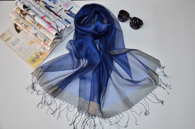 Outlet Appeal Navy Blue Stylish Sunscreen Scarves Silk Sun Block Shawl Scarf for Air Condition Room
