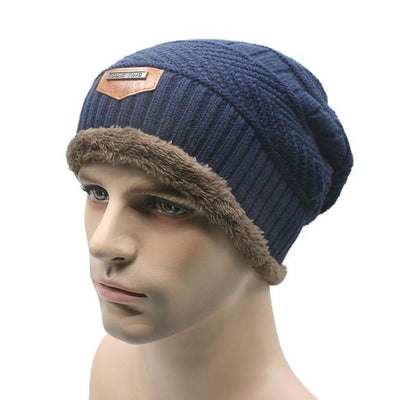 Outlet Appeal Navy / China Winter Warm Men Beanie Bonnet Baggy Knitted Solid Hats Plain Caps Oversize Ski Skullies Beanies Hats