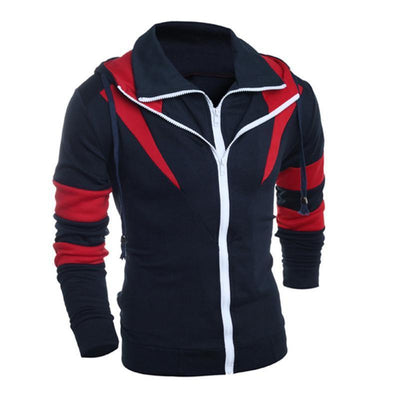 Outlet Appeal Navy / L Men Retro Long Sleeve Hoodie Hooded Sweatshirt Tops Jacket Coat Outwear