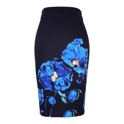 Outlet Appeal New arrival blue Flower print women pencil skirts lady midi saias female black faldas girls slim bottoms M-XXL free shipping