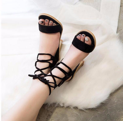 Outlet Appeal Open Toe Lace up Thick High Heel Sandals