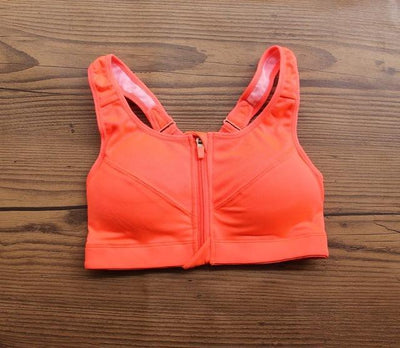 Outlet Appeal Orange / S Professional Level Shockproof 4-Way Stretch Sports Bra with Zipper and Adjustable Straps