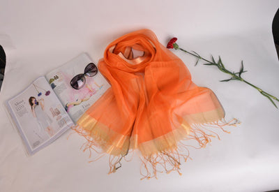 Outlet Appeal Orange Stylish Sunscreen Scarves Silk Sun Block Shawl Scarf for Air Condition Room