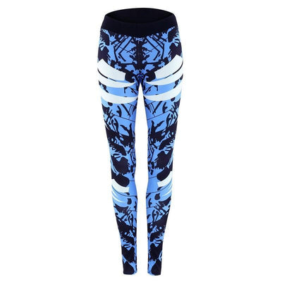 Outlet Appeal pant Dark Blue Printed Tight Gym Leggings