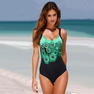 Outlet Appeal Peacock Print One Piece Monokini Swimsuit - Small-5XL