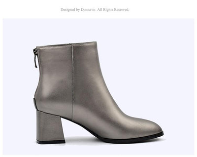 Classic Round Toe Genuine Leather High Heel Ankle Boots