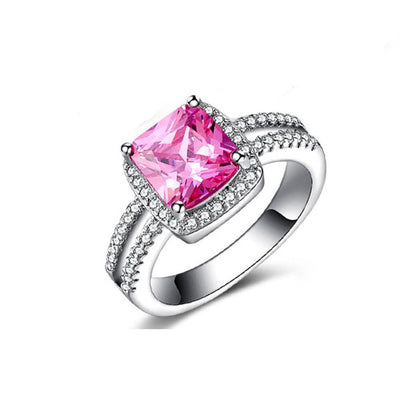 Outlet Appeal Pink / 10# 925 Sterling Silver Plated Especial Tourmaline White Gemstone Silver Jewelry A