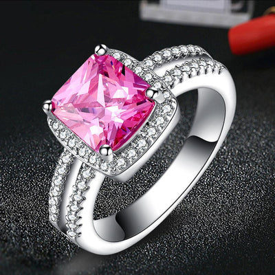 Outlet Appeal Pink / 6# 925 Sterling Silver Plated Especial Tourmaline White Gemstone Silver Jewelry A