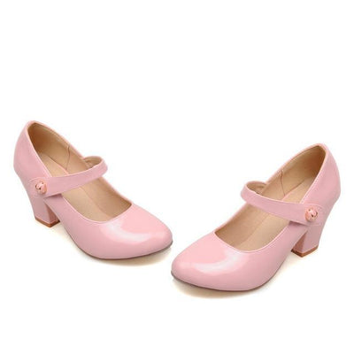 Outlet Appeal Pink / 6 Mary Janes Thick High Heel Round Toe Pumps