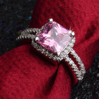 Outlet Appeal Pink / 7# 925 Sterling Silver Plated Especial Tourmaline White Gemstone Silver Jewelry A