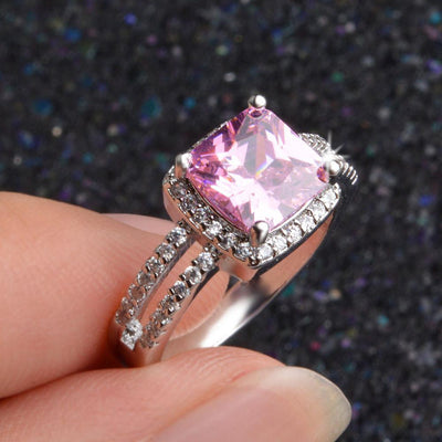 Outlet Appeal Pink / 8# 925 Sterling Silver Plated Especial Tourmaline White Gemstone Silver Jewelry A