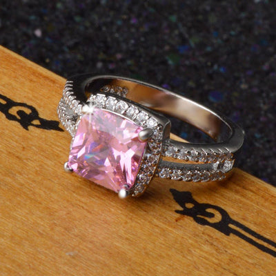 Outlet Appeal Pink / 9# 925 Sterling Silver Plated Especial Tourmaline White Gemstone Silver Jewelry A