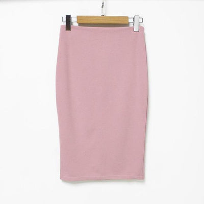 Outlet Appeal pink / L 5 Colors Slim Open Slit Chiffon Knee-Length Midi Pencil Skirt
