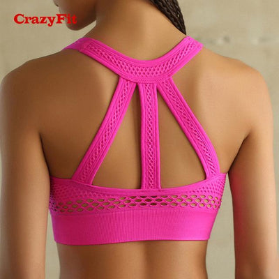 Outlet Appeal Pink / L High Impact Padded Seamless Fitness Sports Bra