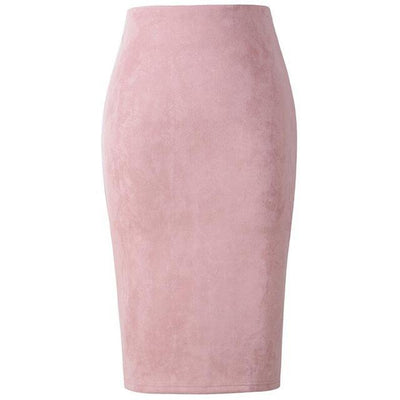 Outlet Appeal Pink / L Women Suede Midi Pencil Skirts Causal High Waist Sexy Stretch Ladies Office Work Wear